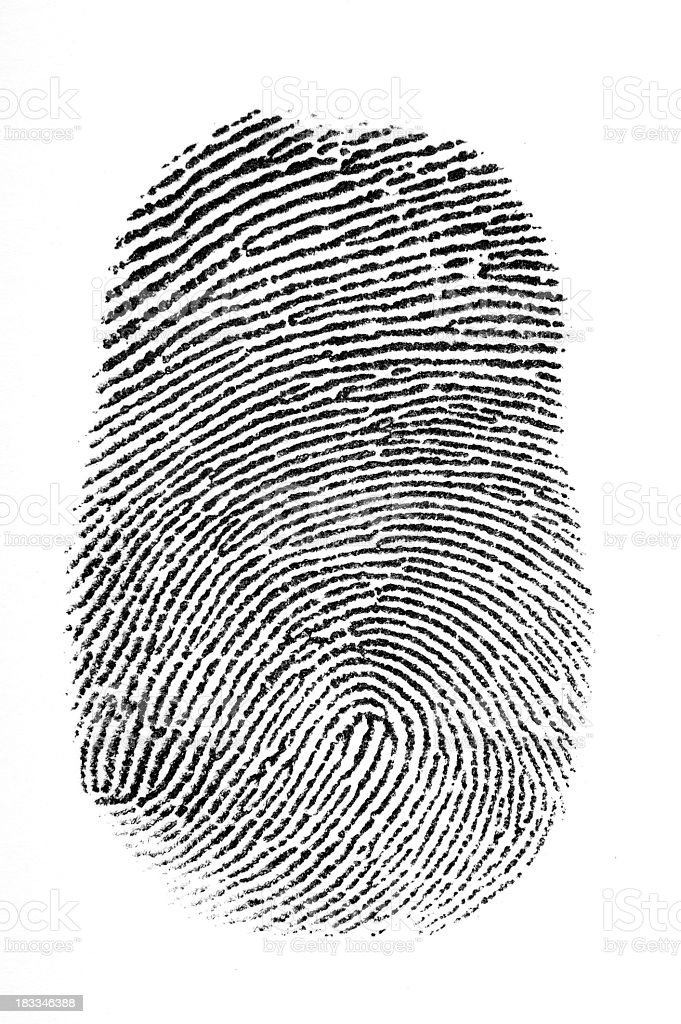 Black fingerprint with a white background stock photo