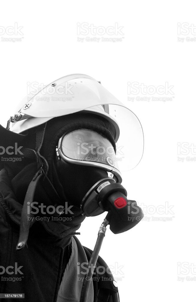 black fire fighter with mask isolated on white stock photo