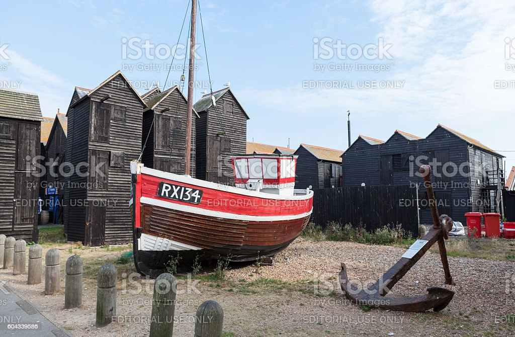 Black fishing sheds in Hastings, UK. stock photo