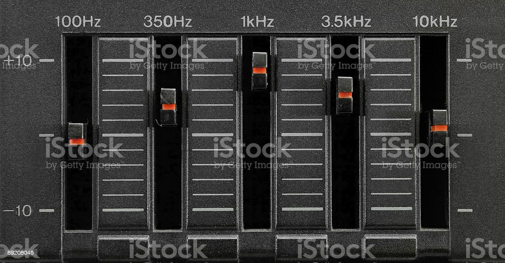 Black five band equalizer royalty-free stock photo