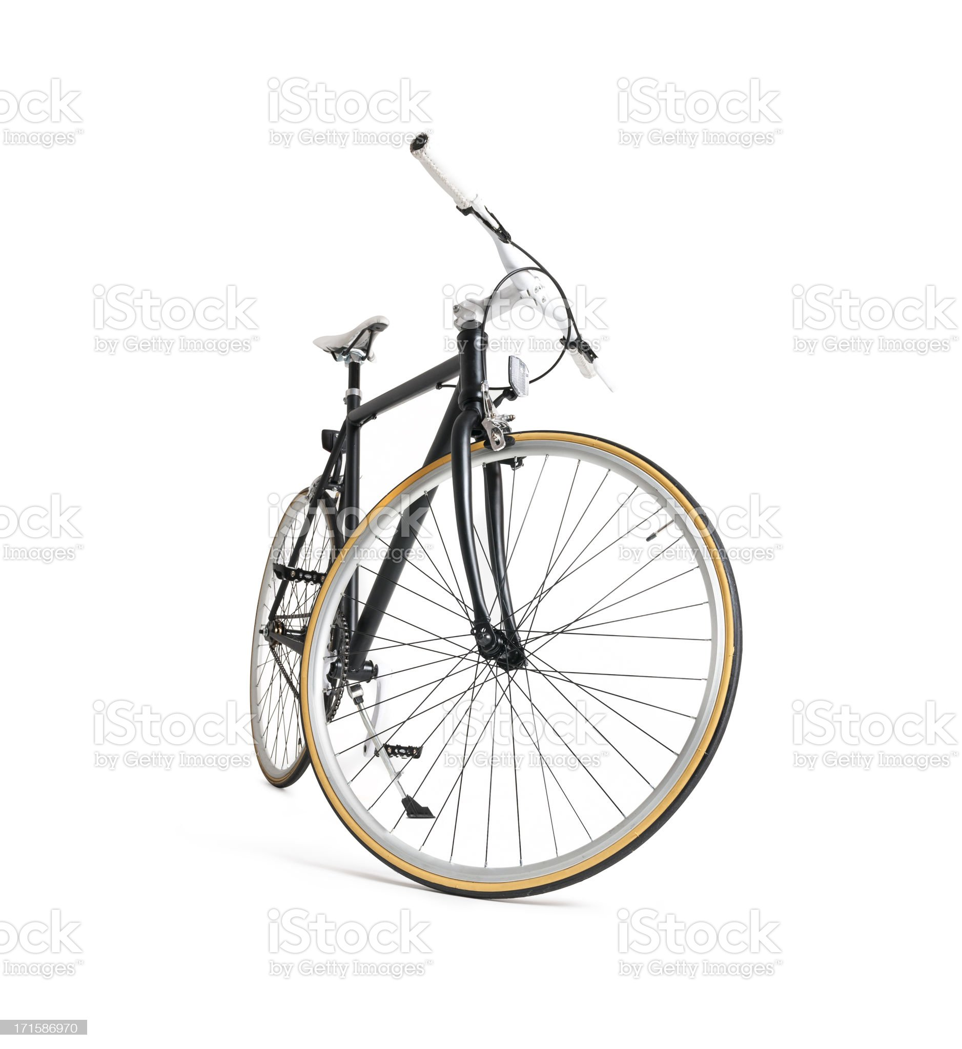 Black Fixie Bicycle Front View royalty-free stock photo
