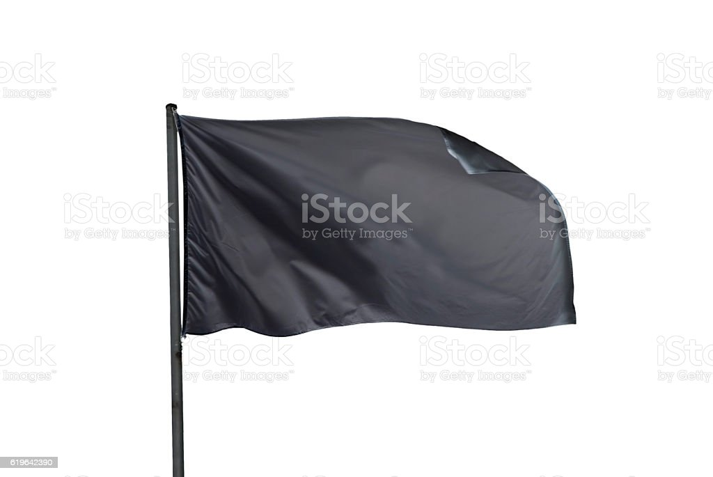 black flag waving on the sky isolated stock photo