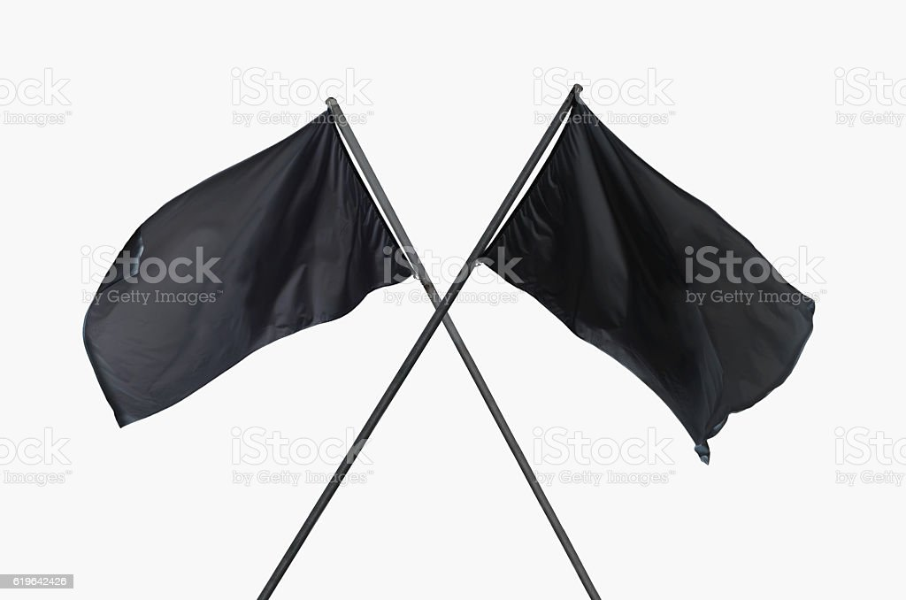 black flags crossed stock photo
