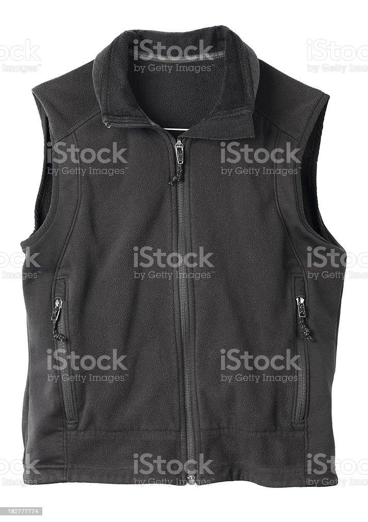Black fleece hiking vest. stock photo