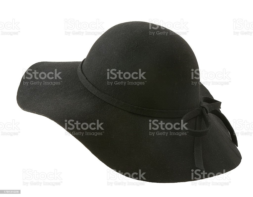 Black floppy felt hat with a lace stock photo