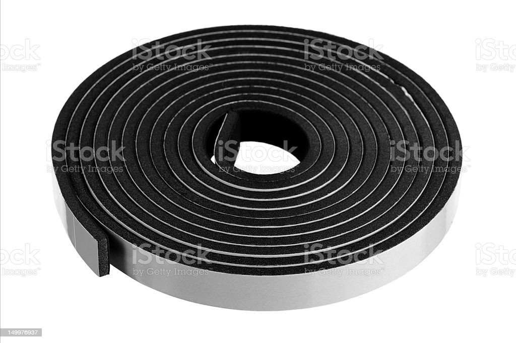 Black Foam Sealing Tape On White Background stock photo