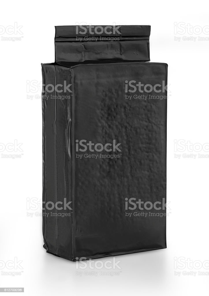 black foil bag pack stock photo