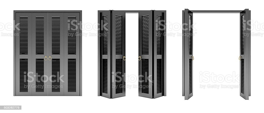 black folding door with grill ,3d stock photo