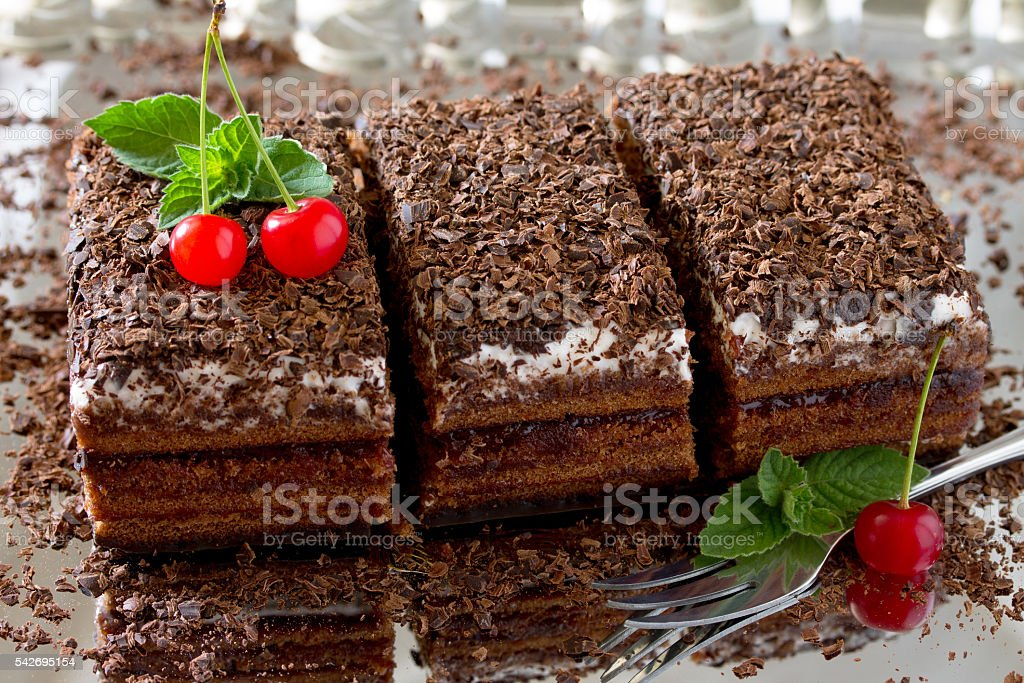 Black Forest cake Black Forest cake, dark chocolate and cherry...