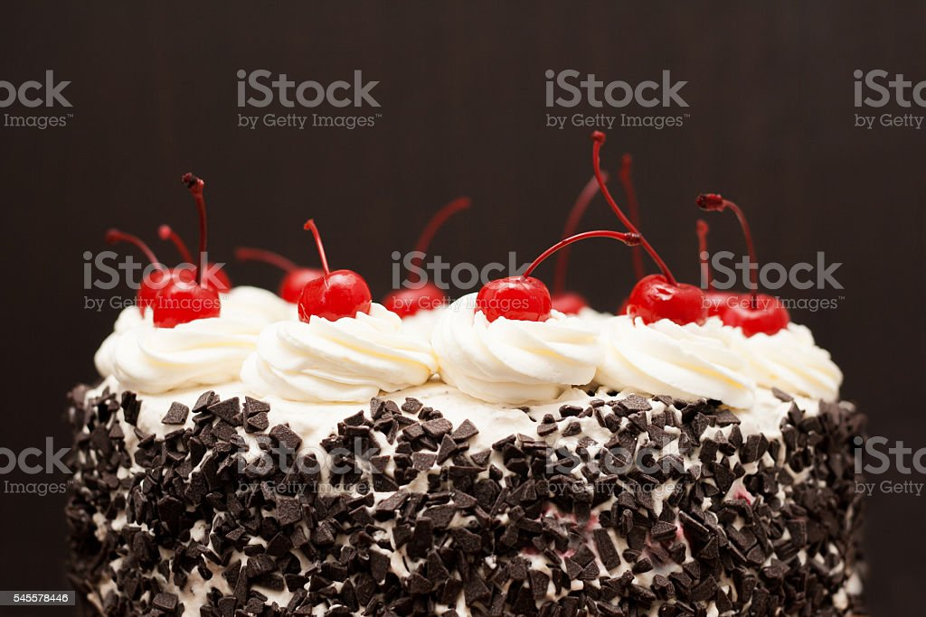 Black Forest cake on a dark background stock photo