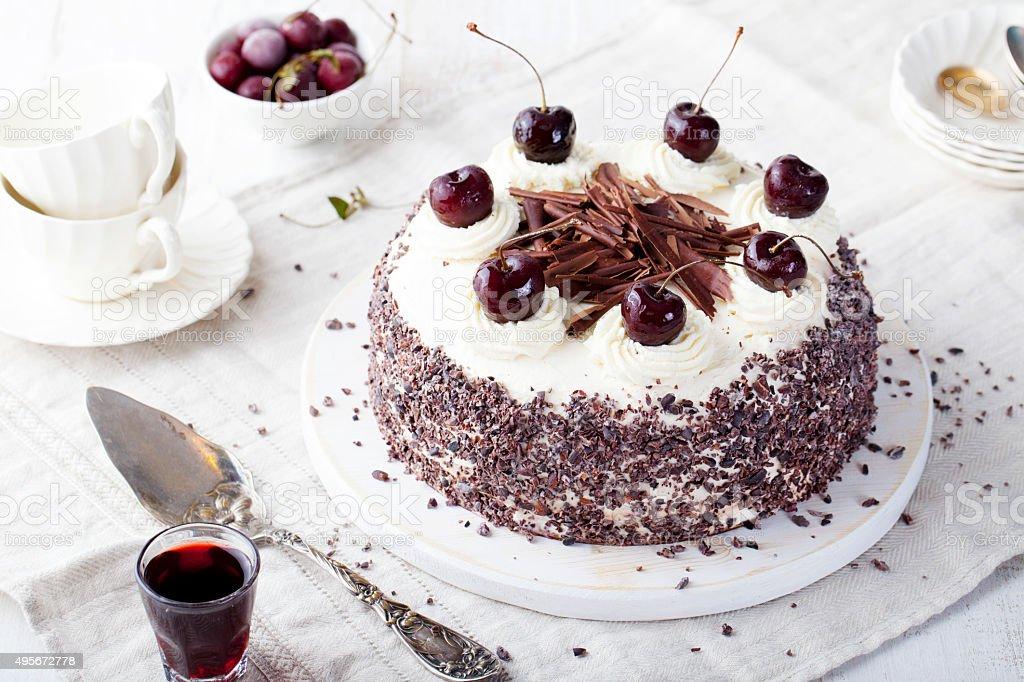 Black forest cake, Schwarzwald pie, dark chocolate and cherry dessert. stock photo