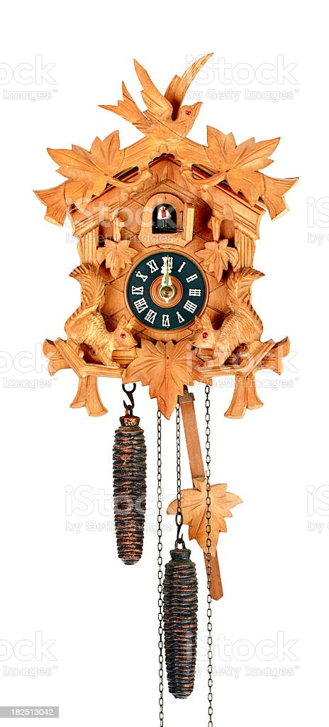 Black Forest Coo-Coo Clock Isolated on White royalty-free stock photo
