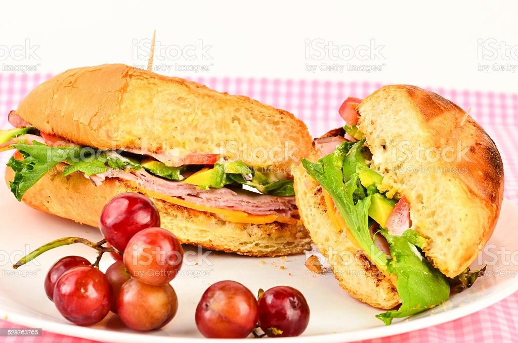 Black Forest Ham on Toasted Roll stock photo