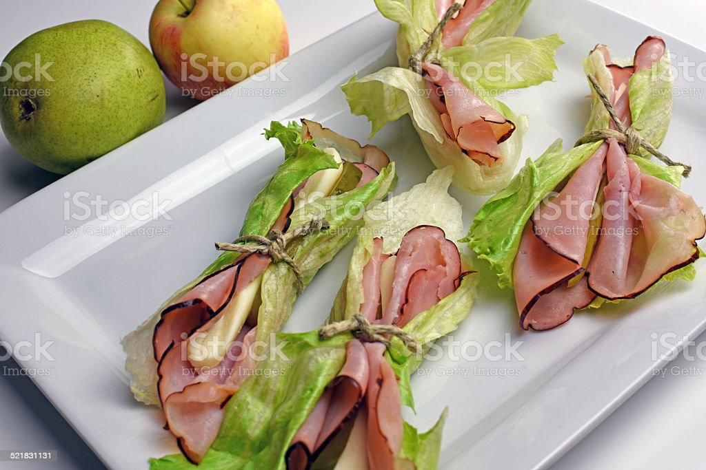 Black Forest Ham Wraps royalty-free stock photo