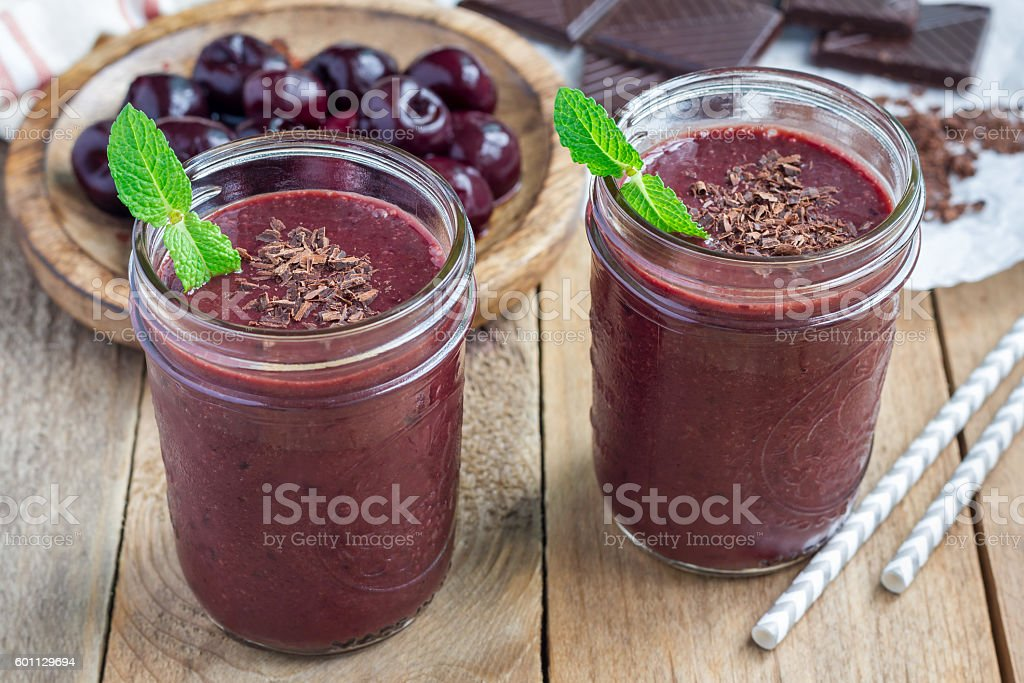 Black forest smoothie with cherry, almond milk and cacao, horizontal stock photo