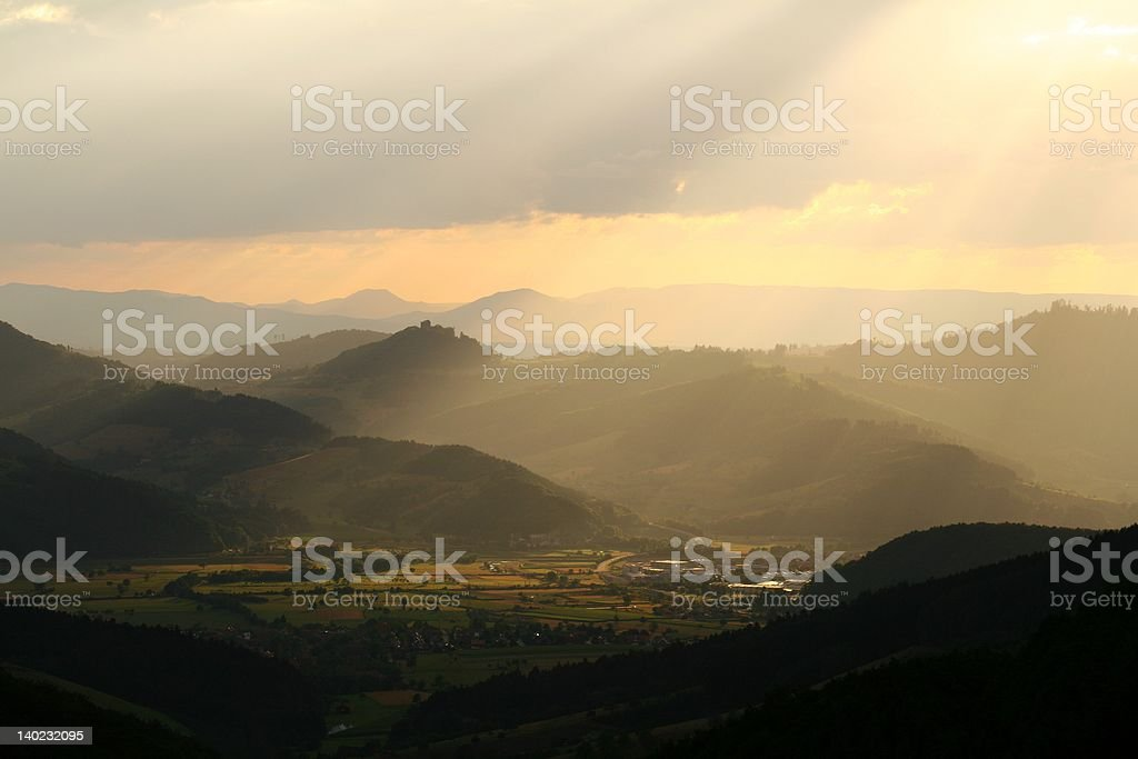 Black Forest sunset stock photo