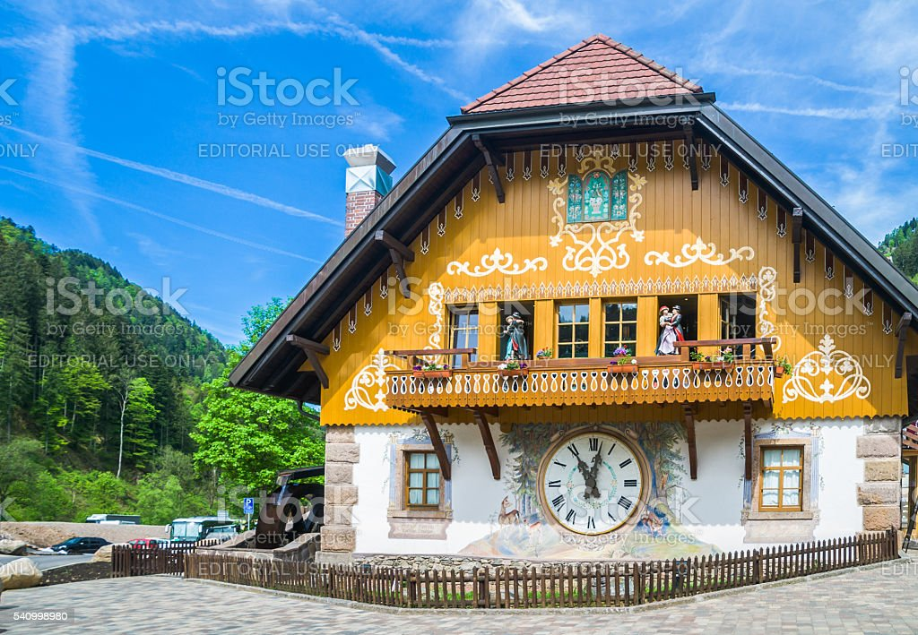 Black Forest Village Clock stock photo