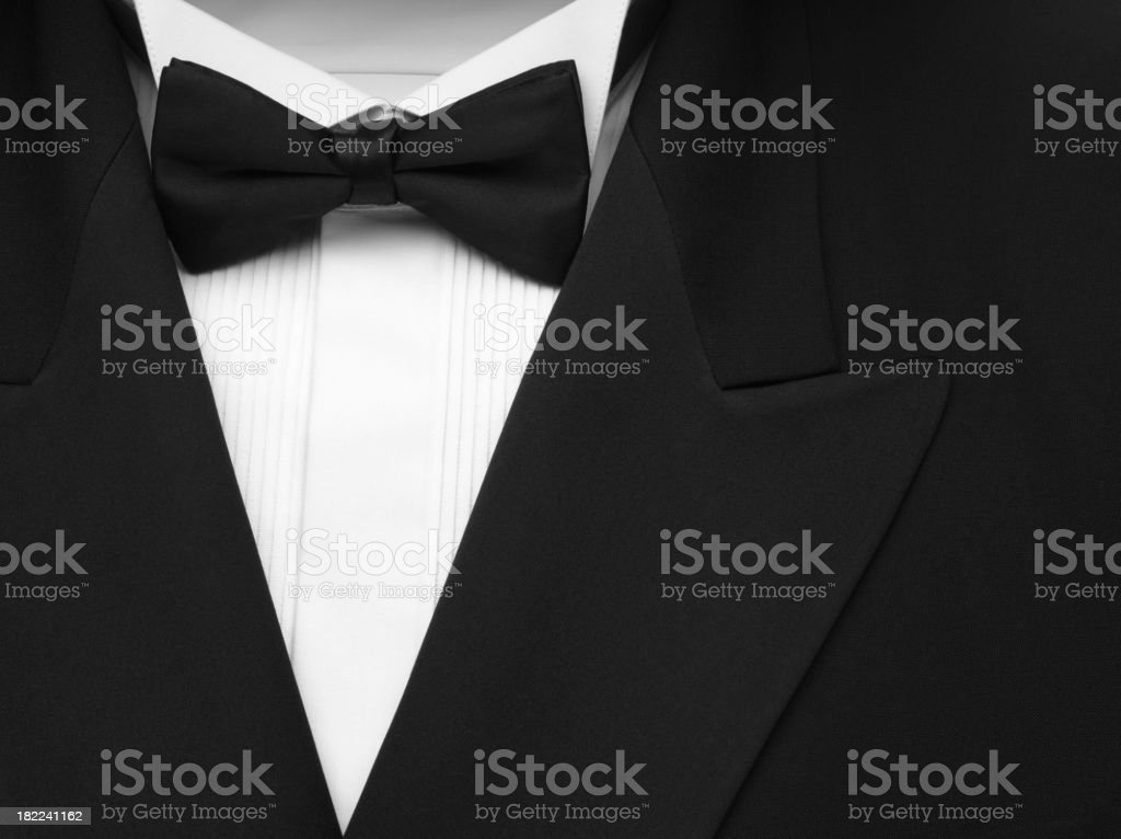 Black Formal Dinner Jacket and Bow Tie stock photo