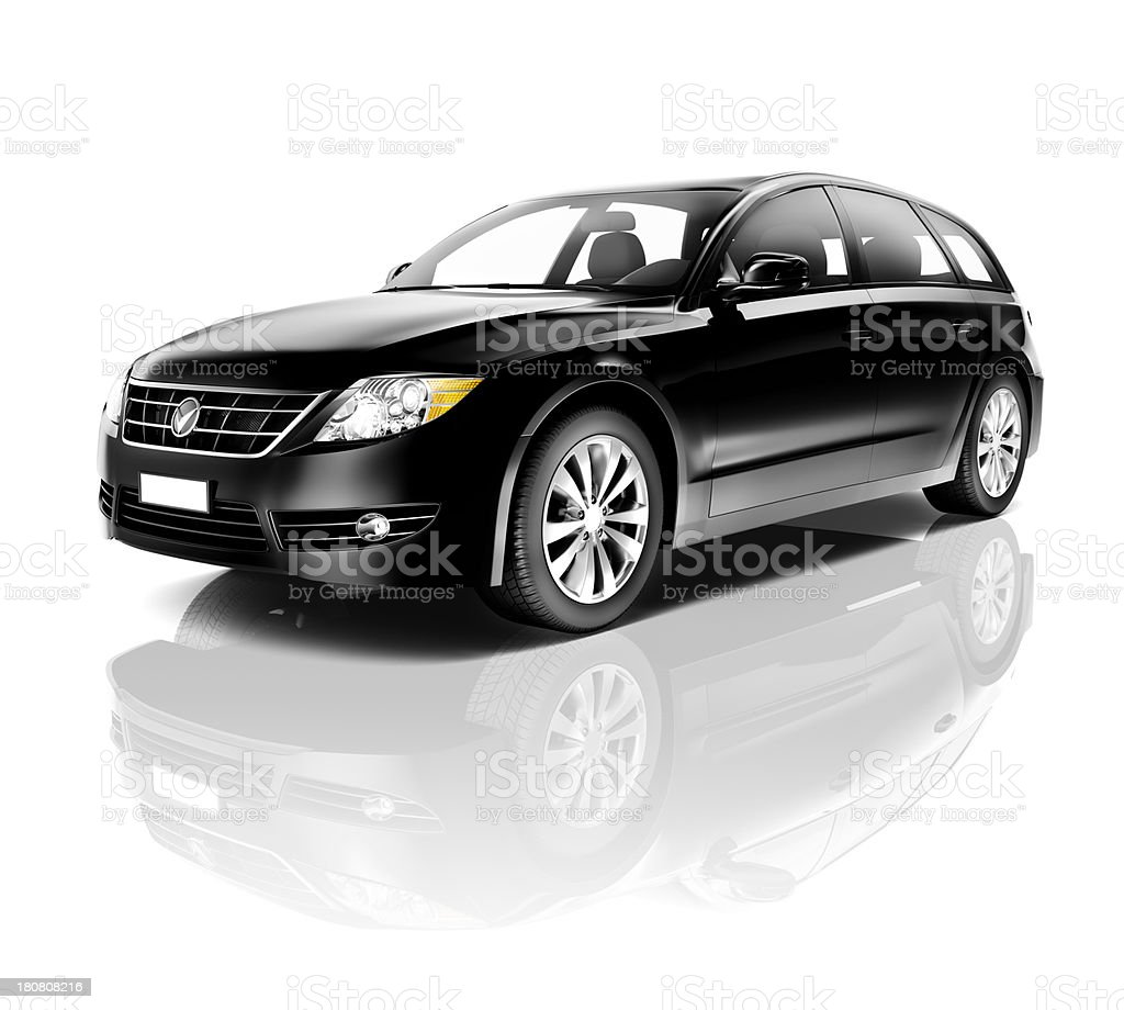 Black four door station wagon on a white background royalty-free stock photo