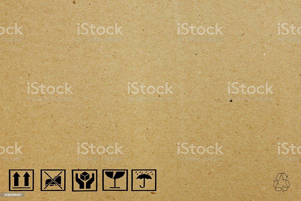 black fragile symbol on cardboard stock photo