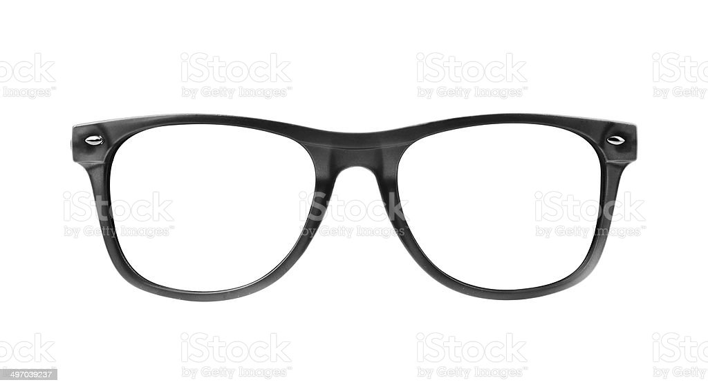 black frame glasses isolated on white background stock photo