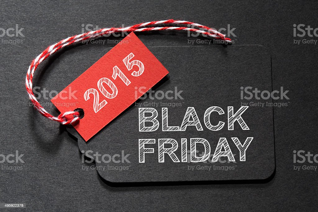 Black Friday 2015 text on a black tag stock photo