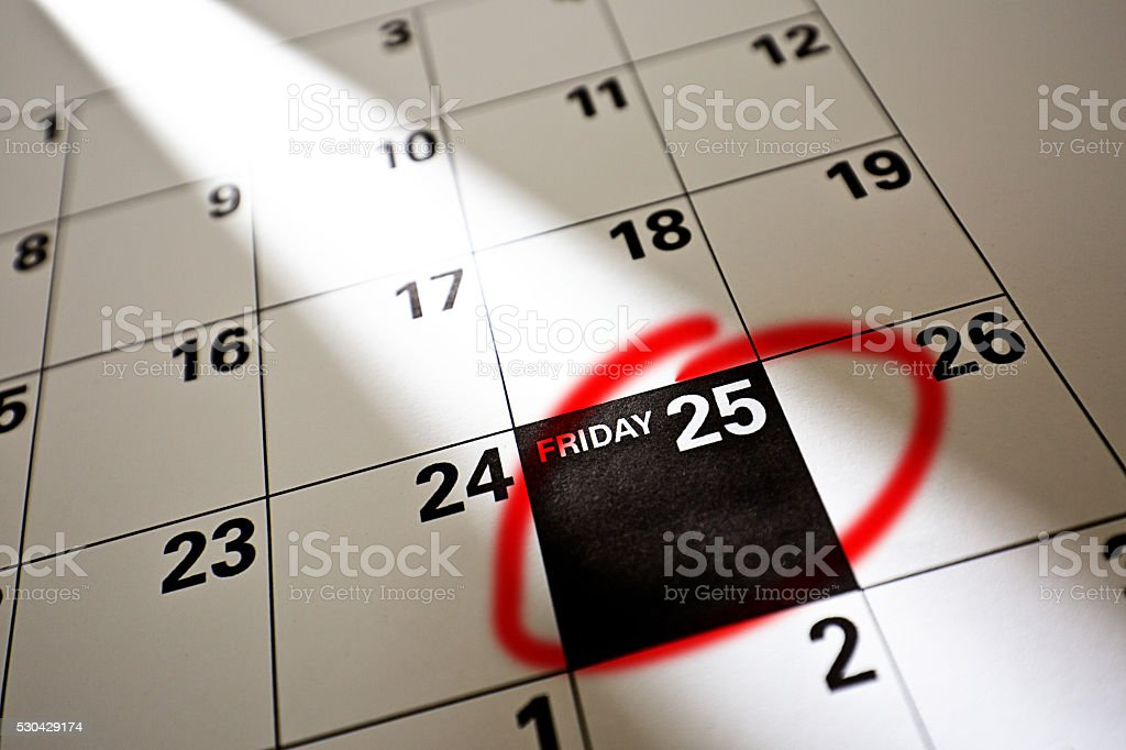 Black Friday 2016 Sale Calendar Date, November 25 stock photo