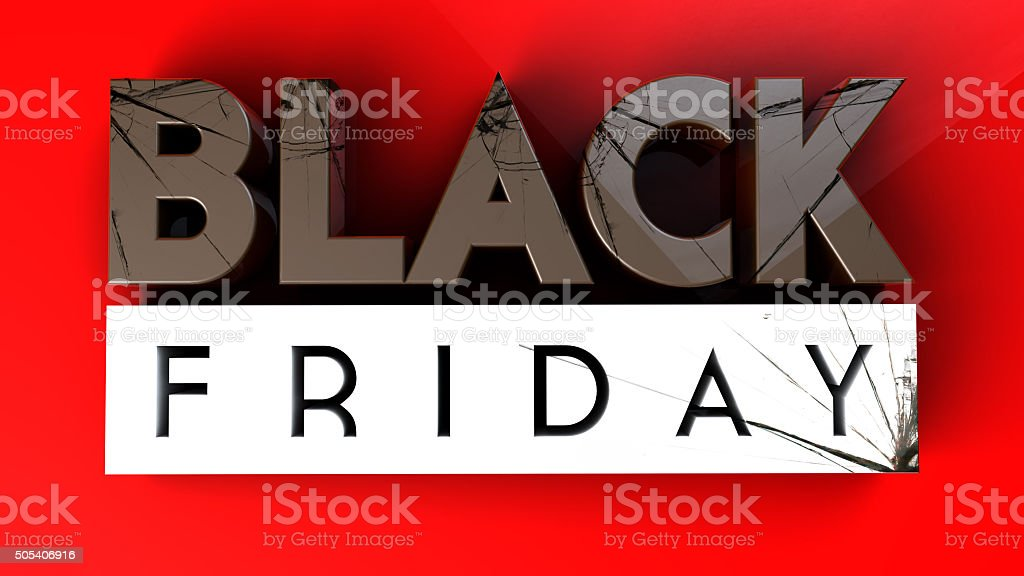 Black Friday 3D crushing on red background vector art illustration