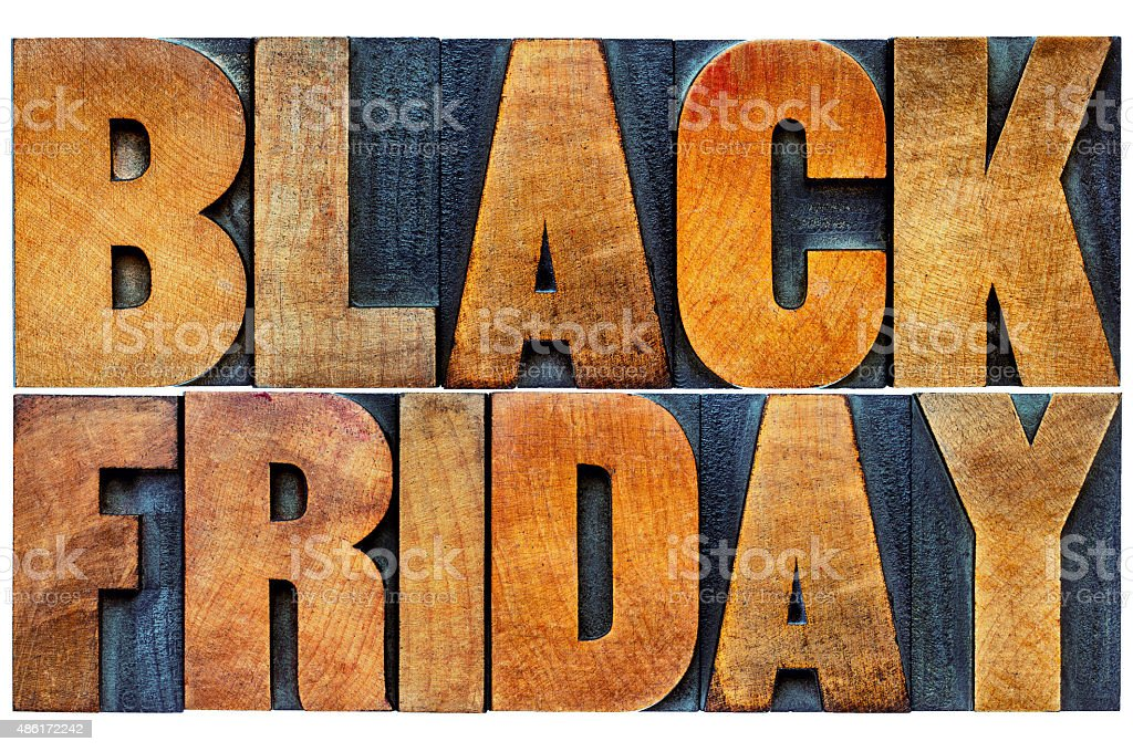 Black Friday banner in wood type stock photo