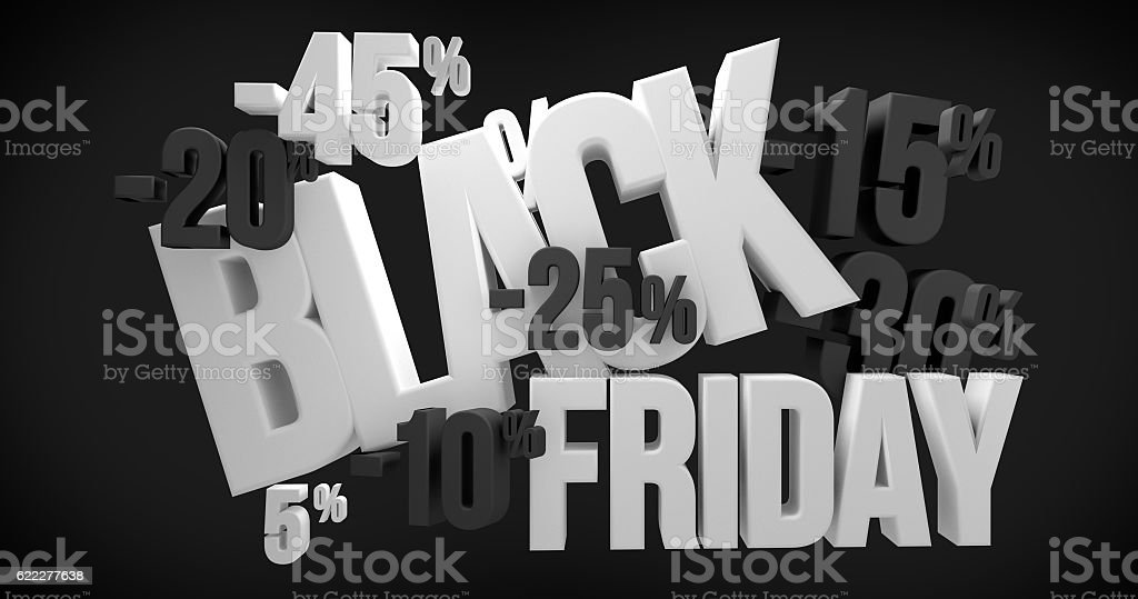 Black Friday. black friday sale 3d render stock photo