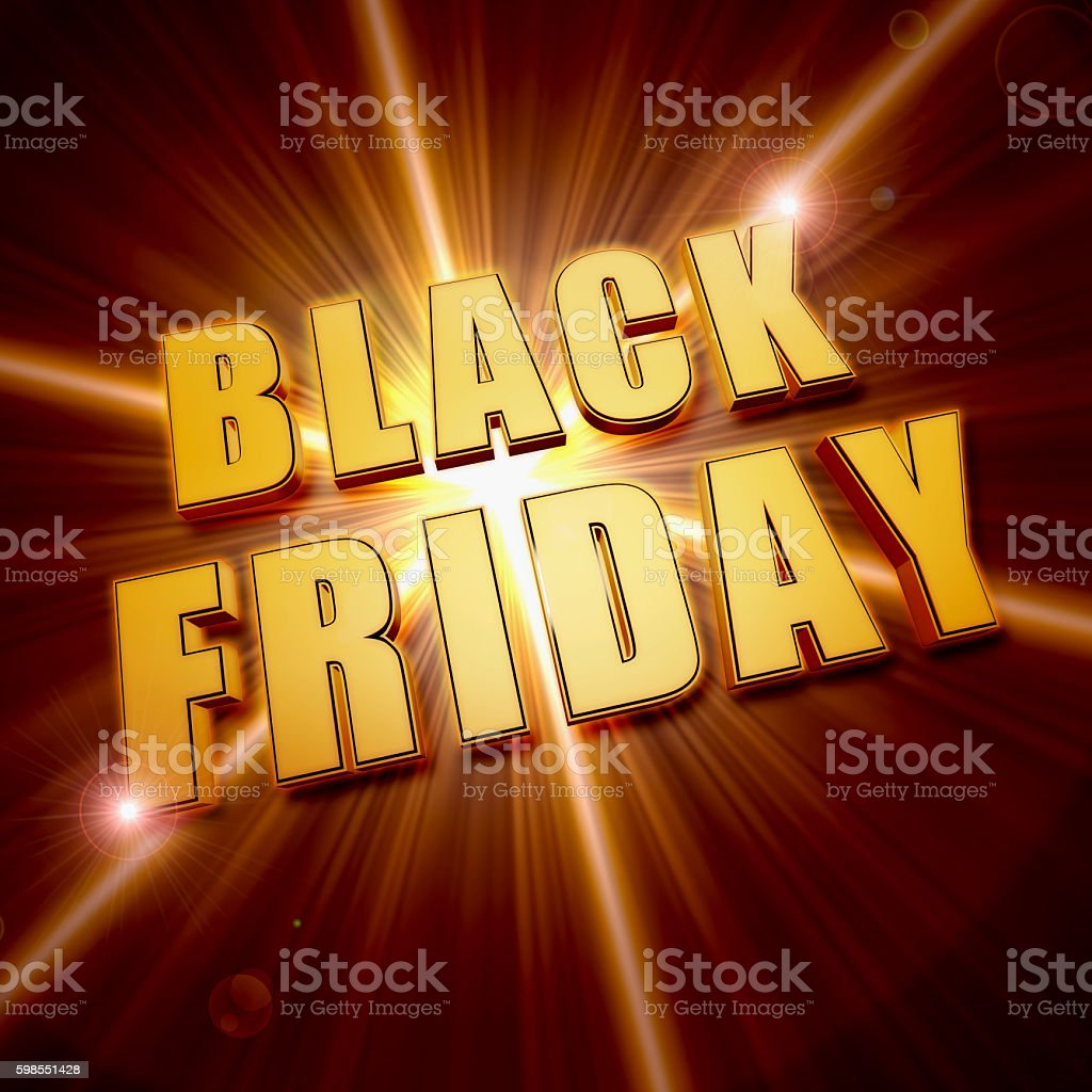 black friday in golden letters over star stock photo