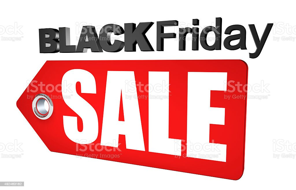 Black Friday Sale Tag 3D Render stock photo
