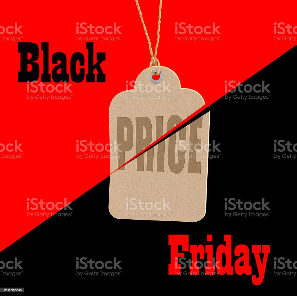 Black Friday shopping sale tag concept. stock photo