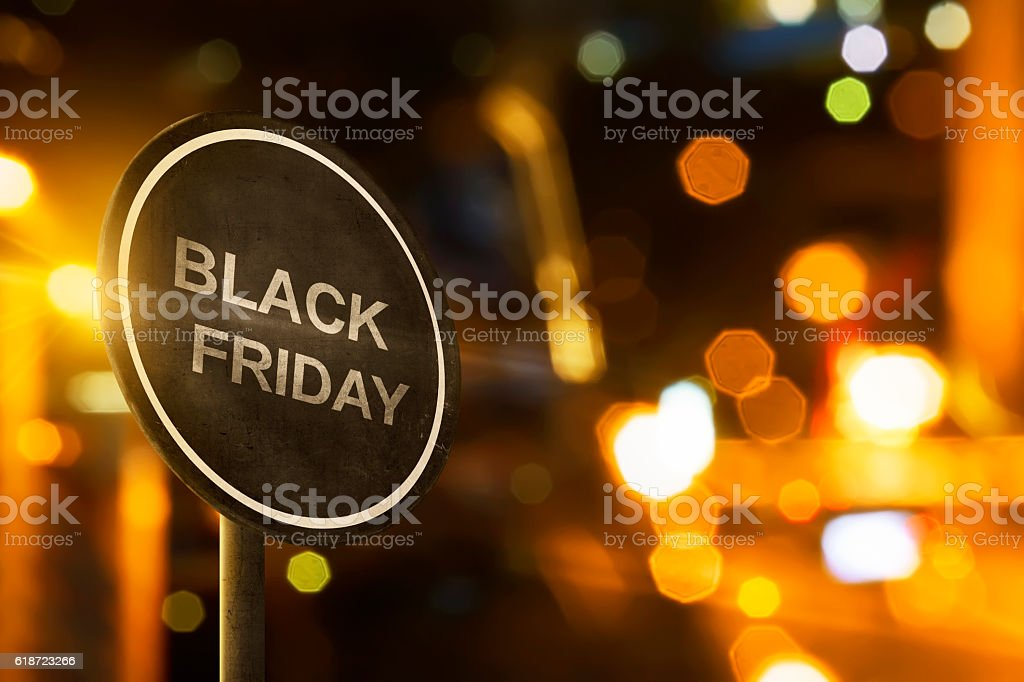 Black Friday sign with blur lighting stock photo