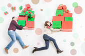 Black Friday, United States, mother, father holding many gift boxes