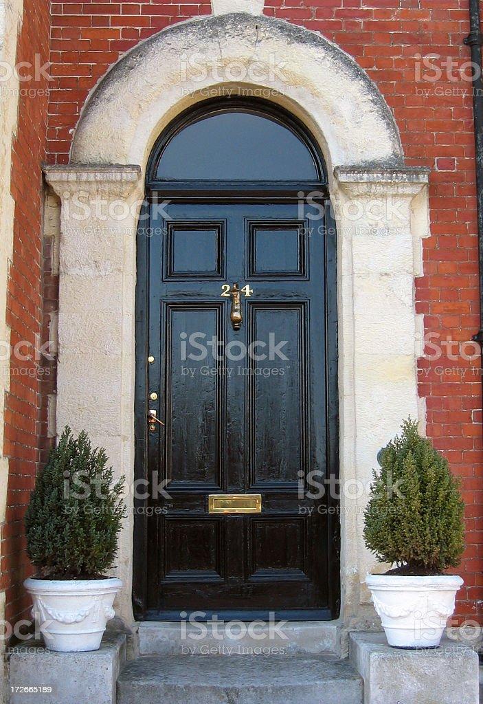 Black front door stock photo