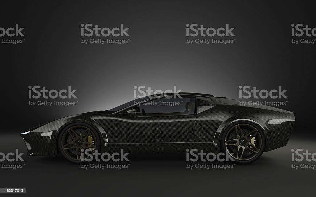 Black full carbon monoque Sports car stock photo