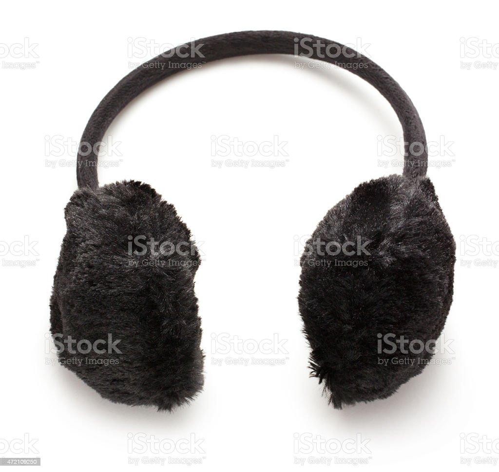 Black fuzzy winter Ear-Muffs stock photo