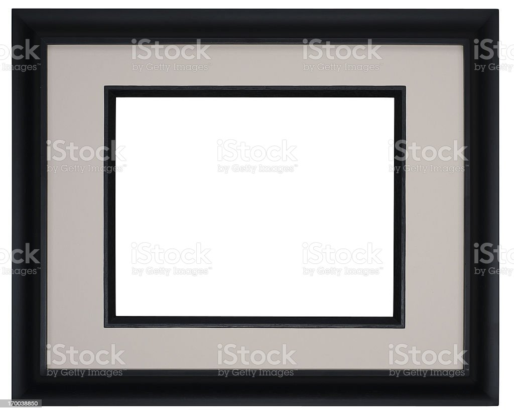 Black Gallery Picture Frame with Warm Toned Mat. Isolated stock photo