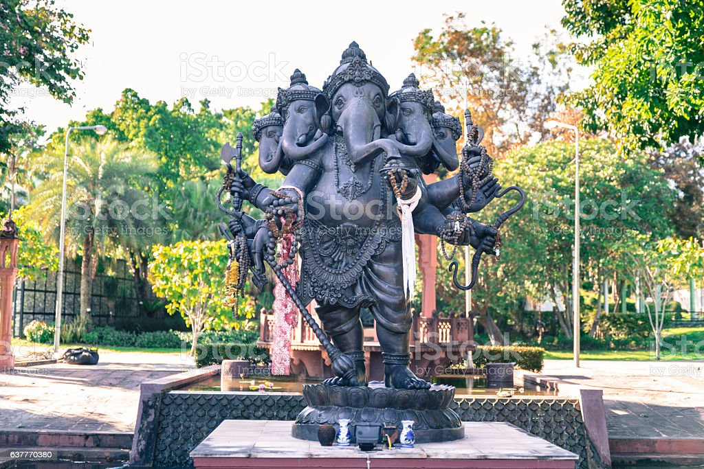 Black Ganesha god of success with offers in the landmark stock photo
