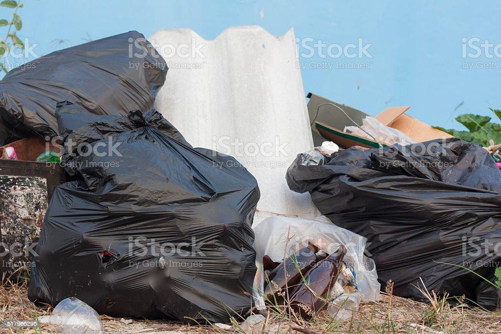 Black garbage bags. stock photo