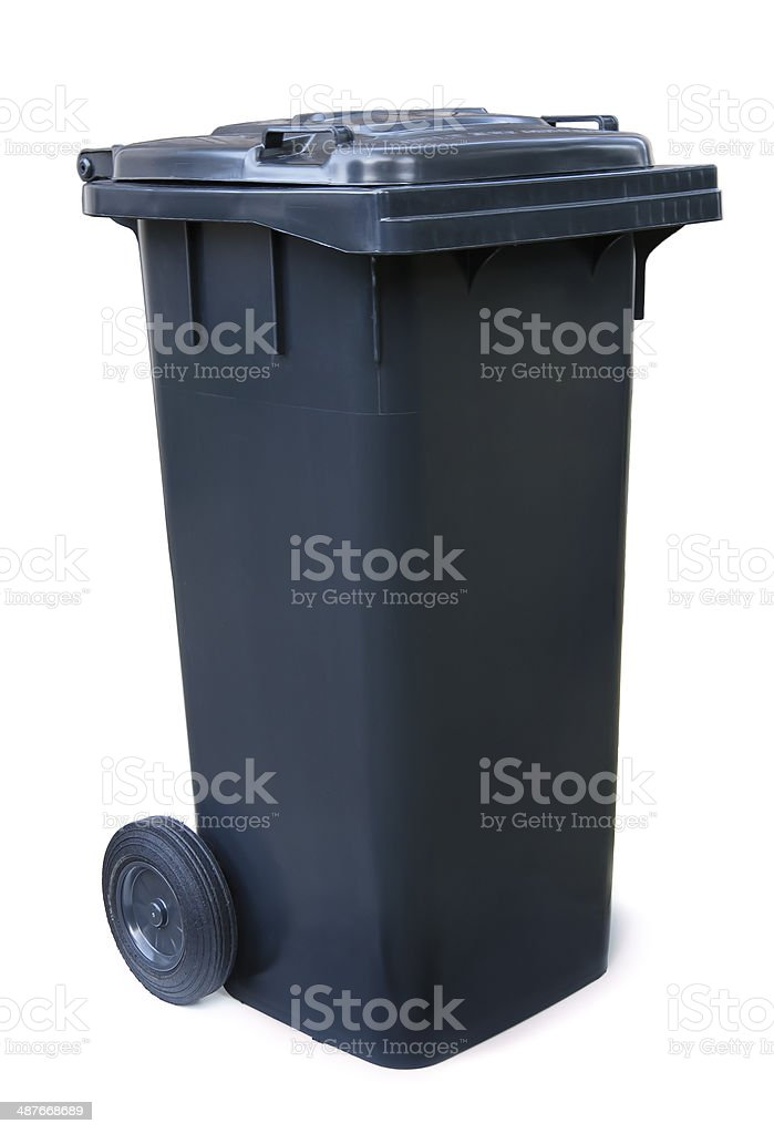 Black garbage bin on white background stock photo