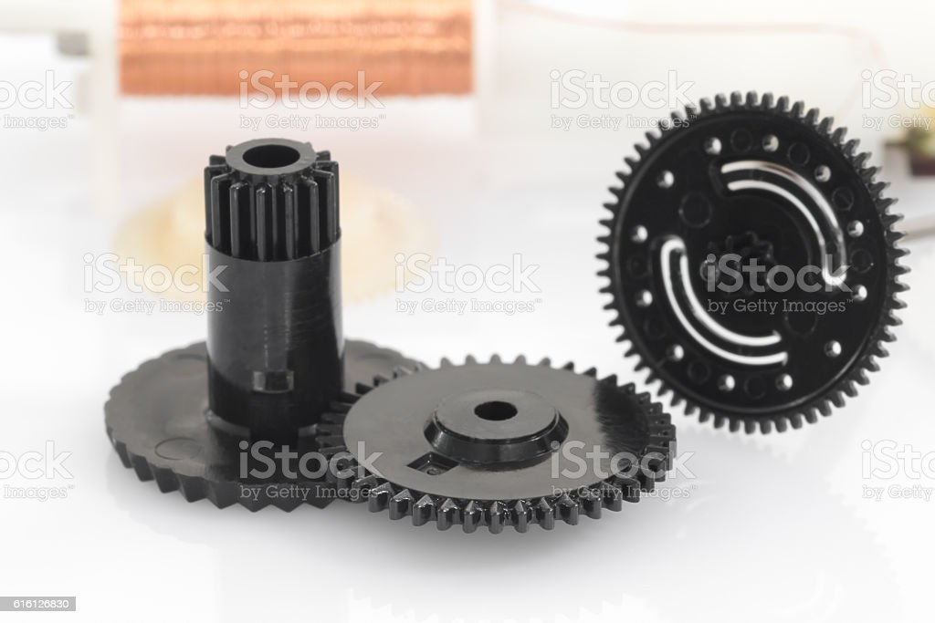 black gear plastic wheel stock photo