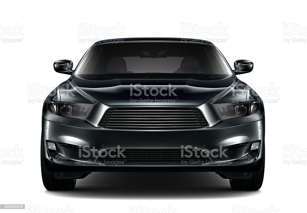 Black generic car - front view stock photo