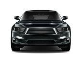 Black generic car - front view