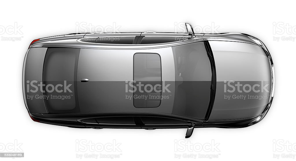 Black generic car - top view stock photo