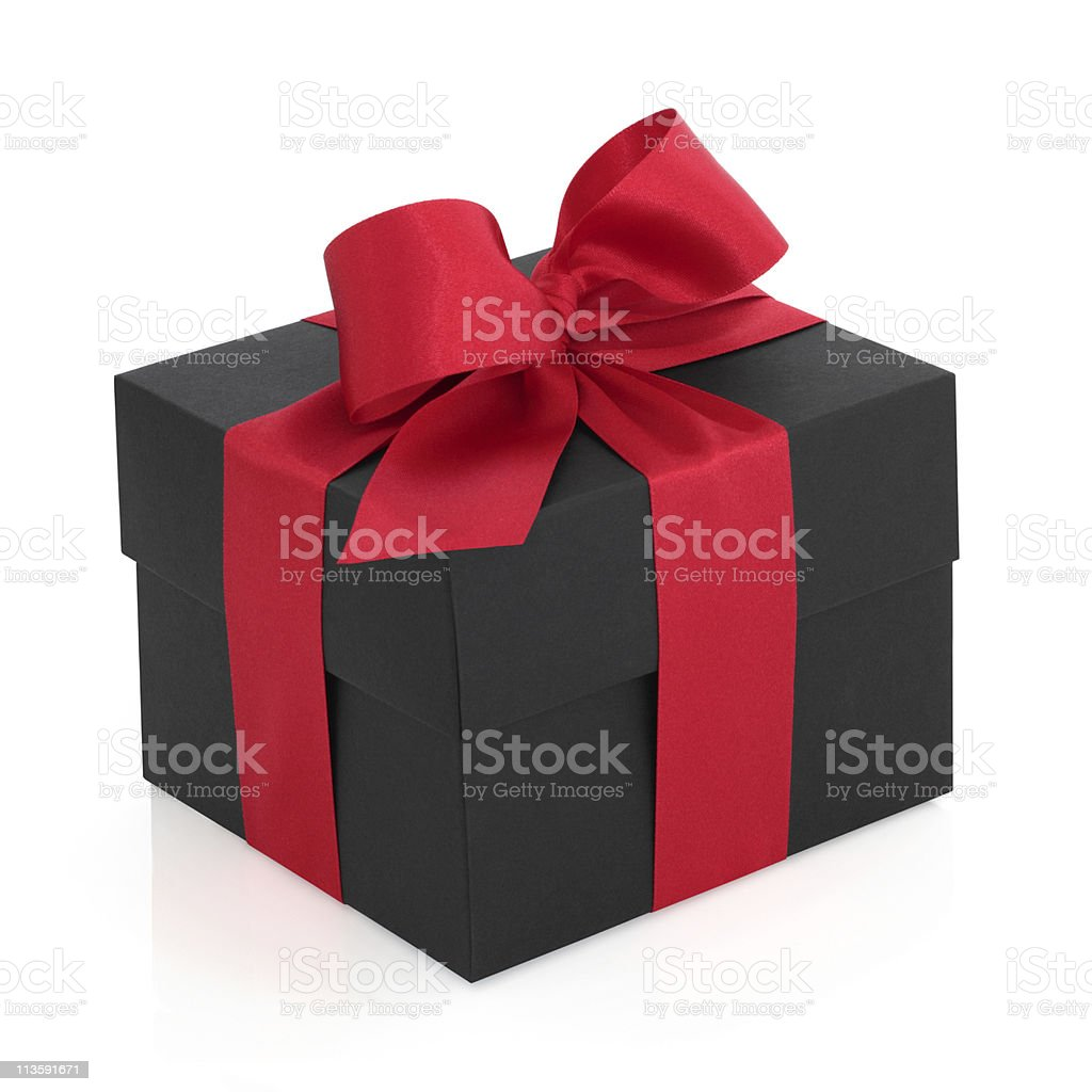 A black gift box adorned with a red bow stock photo