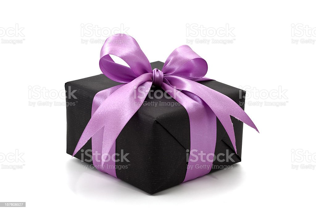 black gift box with pink bow royalty-free stock photo