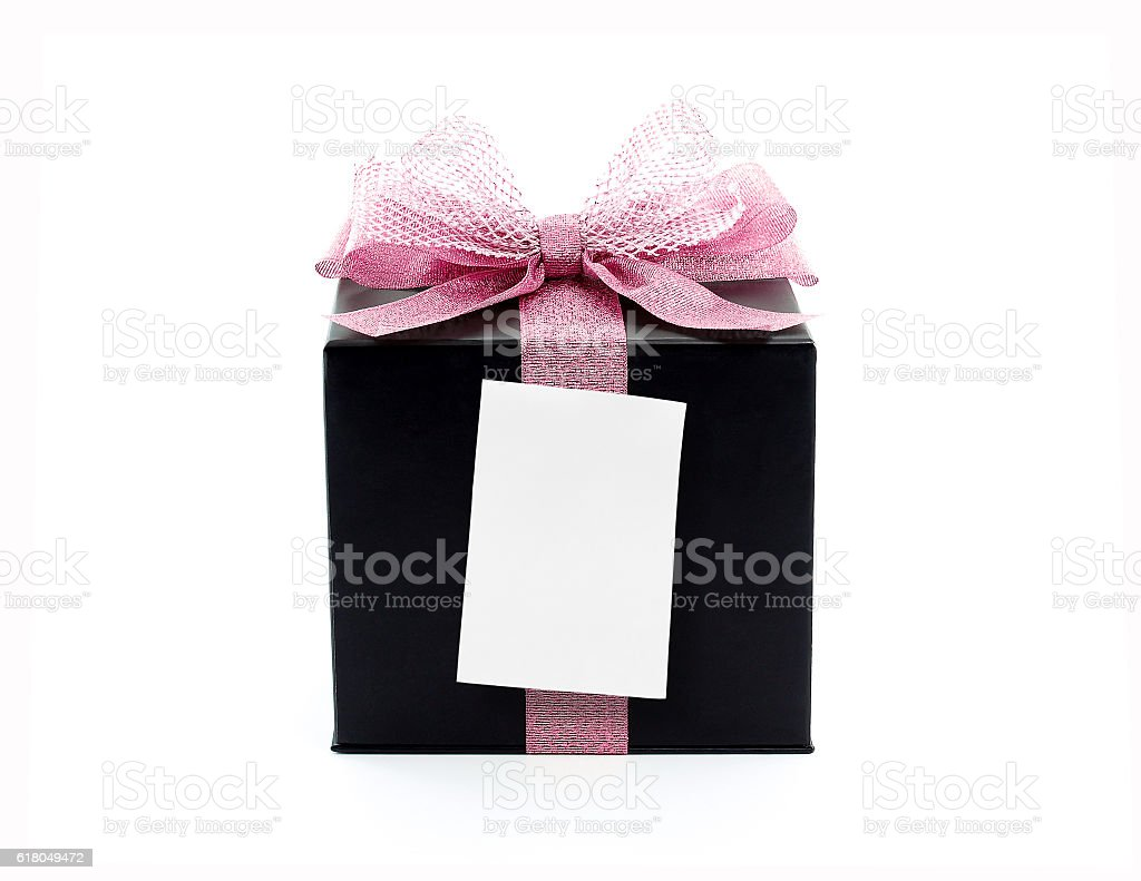 black gift box with pink ribbon bow and blank note stock photo