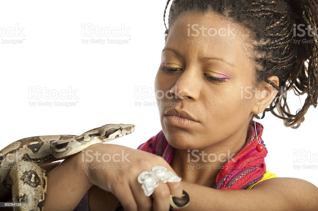 black girl and python royalty-free stock photo